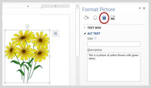 Image of adding alt text to an image in MS Word 2013