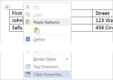 Image of adding alt text to a table in MS Word 2013